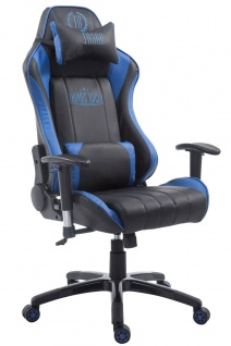 XL Bürostuhl 150 kg belastbar schwarz blau Chefsessel Zocker Gamer Gaming