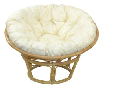 Papasansessel rund Ø 100cm beige inkl Kissen Rattansessel Relaxsessel Korbsessel