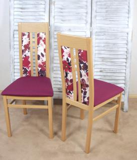 2er-Set moderne Esszimmerstühle massivholz Buche violett Polsterstuhl Stuhlset