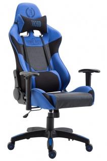 XL Racing Bürostuhl 136kg belastbar Stoffbezug schwarz blau Chefsessel Zocker