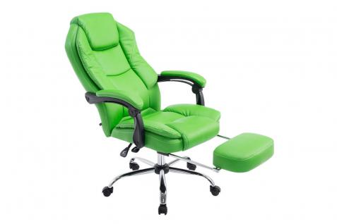 Bürostuhl grün Kunstleder Chefsessel klassisch Fußablage hochwertig modern
