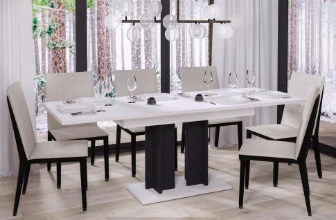 design Säulentisch Hochglanz weiß schwarz Esstisch zweifarbig ausziehbar modern