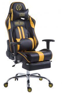 XL Bürostuhl 150 kg belastbar schwarz gelb Chefsessel Fußablage hochwertig neu