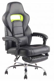 Bürostuhl 136kg belastbar schwarz stabil Kunstleder Chefsessel Fußablage Stütze