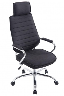 Bürostuhl 120kg belastbar Stoffbezug schwarz Chefsessel Kopfstütze modern design