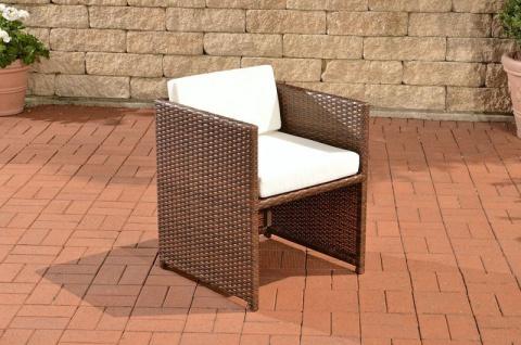 Polyrattan Gartenstuhl braun inkl. Kissen Auflage Lounge Garten Terrasse