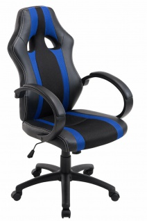 Racing Bürostuhl 136 belastbar blau sportlich Gaming Gamer Chefsessel Drehstuhl