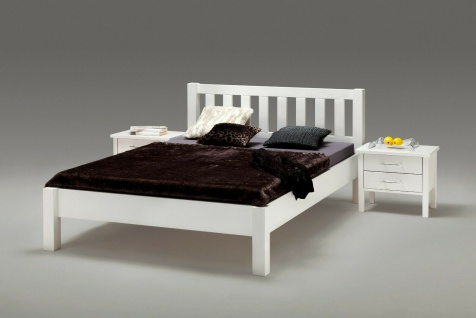 Komfortbett 180x200 Buche massivholz weiß lackiert Doppelbett Ehebett Holzbett
