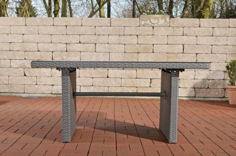 Tisch grau Gartentisch Outdoor Garten Rattan Sofa-Tisch Rattantisch Glastisch - Vorschau 4
