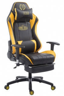 XL Bürostuhl 150 kg belastbar gelb Chefsessel Fußstütze Gaming Zockersessel - Vorschau 1