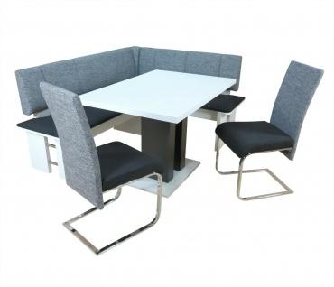 moderne Eckbankgruppe 4-tlg. weiß schwarz grau Tischgruppe Essgruppe Essecke