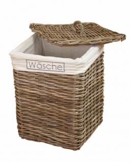 Wäschekorb grau Rattan Wäschetruhe Wäschesammler Wäschebox Wäschetonne Deckel