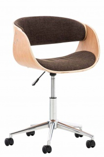 Bürostuhl Holzrahmen Stoffbezug natur braun Sitzsachale Drehstuhl modern design
