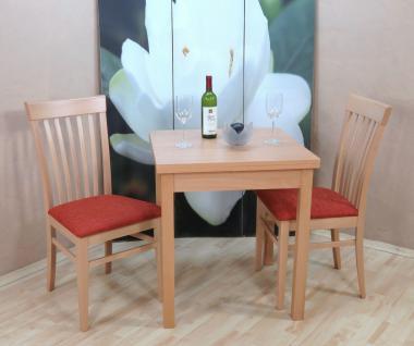 Tischgruppe Buche massiv natur terracotta Essgruppe 2 x Stühle Esstisch Holz
