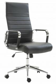 Bürostuhl 136 kg belastbar schwarz / chrom Kunstleder Chefsessel Drehstuhl NEU