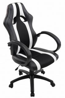 XL Bürostuhl 136kg belastbar schwarz weiß Kunstleder Chefsessel schwere Personen