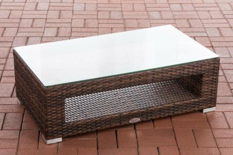 Tisch braun Gartentisch Loungetisch Rattantisch Glastisch flach Outdoor Garten