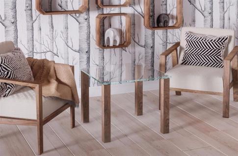 design Glastisch nussbaum kleiner Beistelltisch Couchtisch modern hochwertig