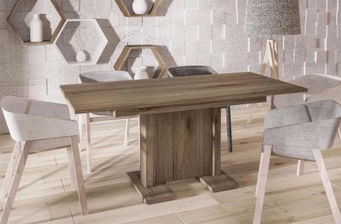 hochwertiger Säulentisch San Remo Trüffel 130-210 Auszug Esstisch modern günstig