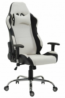 XL Bürostuhl 136 kg belastbar Kunstleder schwarz/weiß Chefsessel Gamer Zocker
