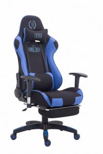 Chefsessel 150kg belastbar schwarz blau Stoff Bürostuhl Fußablage Zocker Gamer