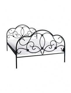 romantisches Bett 140 x 200 cm schwarz Ehebett Doppelbett Metallbett günstig neu