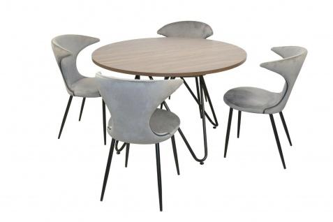 Essgruppe 5-tlg grau Esstisch rund 4x Stühle Stuhlset Tischgruppe modern design