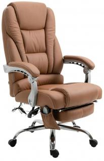 XXL Bürostuhl 150 kg belastbar hellbraun Kunstleder Chefsessel Massagefunktion