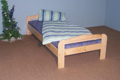 Holzbett 100x200 Kiefer massiv Natur lackiert Einzelbett Gästebett Seniorenbett