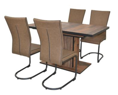 5 tl.g Essgruppe braun /schwarz Tischgruppe Esszimmergarnitur modern design NEU