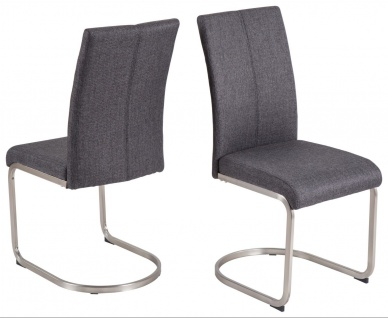 2 x Schwingstuhl anthrazit Webstoff Stuhlset Freischwinger modern design günstig