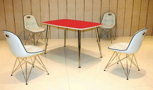 Tischgruppe weiß/rot Essgruppe Esszimmergruppe Schalenstuhl modern design C3
