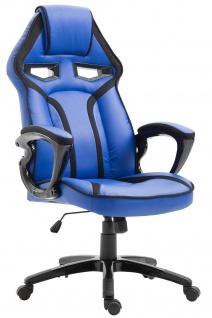 Bürostuhl 115kg belastbar blau Kunstleder Chefsessel sportlich modern design
