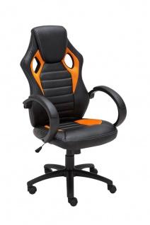Bürostuhl 120 belastbar schwarz orange Kunstleder Chefsessel sportliches design