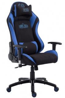 Chefsessel bis 150 kg belastbar Stoff schwarz blau Bürostuhl Gaming Zockersessel