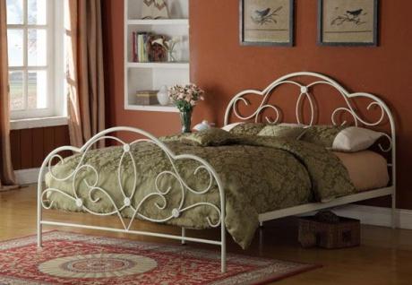 Bett 140x200 Weiß Ehebett Gästebett Doppelbett Metallbett Romantisch Günstig