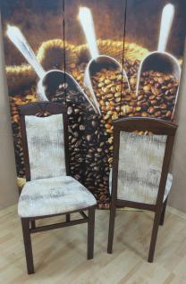 2er-Set Esszimmerstühle massivholz nuss dunkel creme Stuhlset modern design neu