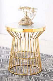 Beistelltisch Goldfarben Glastisch Couchtisch Sofatisch Modern
