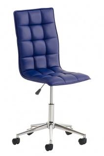 Bürostuhl Kunstleder blau Drehstuhl Arbeitshocker hochwertig modern design neu