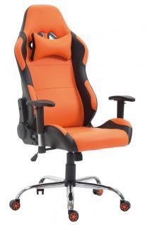 XL Bürostuhl 136 kg belastbar Kunstleder schwarz orange Chefsessel Gamer Zocker