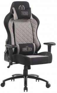 XL Bürostuhl 150 kg belastbar schwarz grau Stoffbezug Chefsessel Gaming Zocker