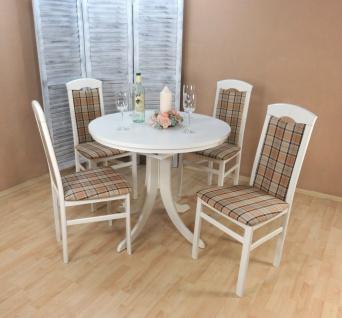 Tischgruppe 5 teilig massiv weiß beige braun Essgruppe Stühle Tisch rund modern