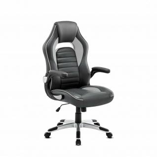 Racing Bürostuhl grau/schwarz 130kg belastbar Chefsessel Drehstuhl stabil robust