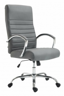 XL Bürostuhl bis 136 kg belastbar Kunstleder grau Chefsessel Drehstuhl stabil