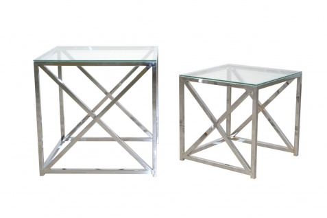 2er Set Beistelltische Metall Chrom Glas Glastisch Sofatisch Couchtisch Beitisch