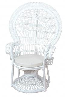 Pfauenthron weiß Rattansessel Sessel Rattanstuhl hochwertig modern design neu