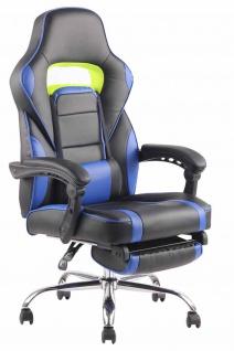 Bürostuhl 136kg belastbar schwarz blau Kunstleder Chefsessel Fußablage Stütze