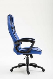 Bürostuhl 115 kg belastbar blau Kunstleder Chefsessel sportlich modern design - Vorschau 3