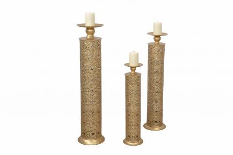 Kerzenständer 3-tlg. Set goldfarben Kerzenhalter Kerzenleuchter Metall design
