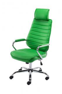 Bürostuhl grün Kopfstütze Metallgestell hochwertig Chefsessel modern design